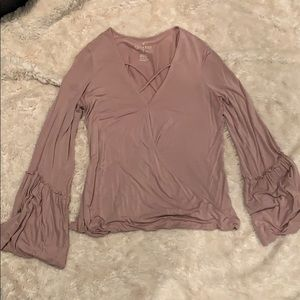Soft and sexy blush long sleeve blouse size M